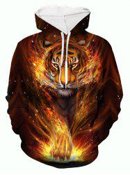 Fire Tiger 3D Print Pouch Pocket Casual Hoodie -