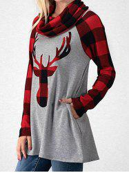 Cowl Neck Plaid Elk Imprimer Noël T-shirt -