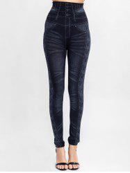 High Waisted 3D Print Knit Jeggings -