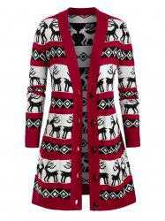 Plus Size Elk Argyle Graphic Cardigan Noël -