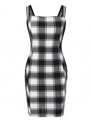 Plus Size Plaid à encolure carrée Robe moulante Mini -