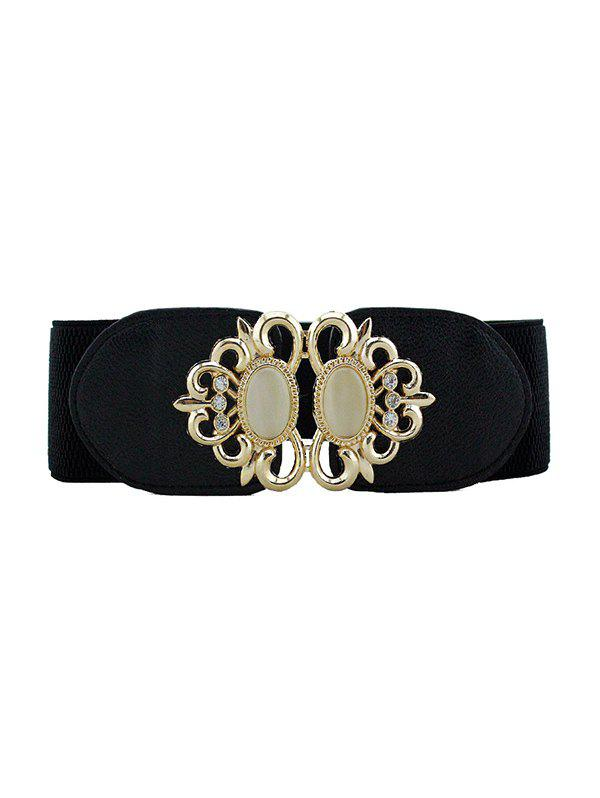 Best Hollow Rhinestone Buckle Elastic Dress Belt