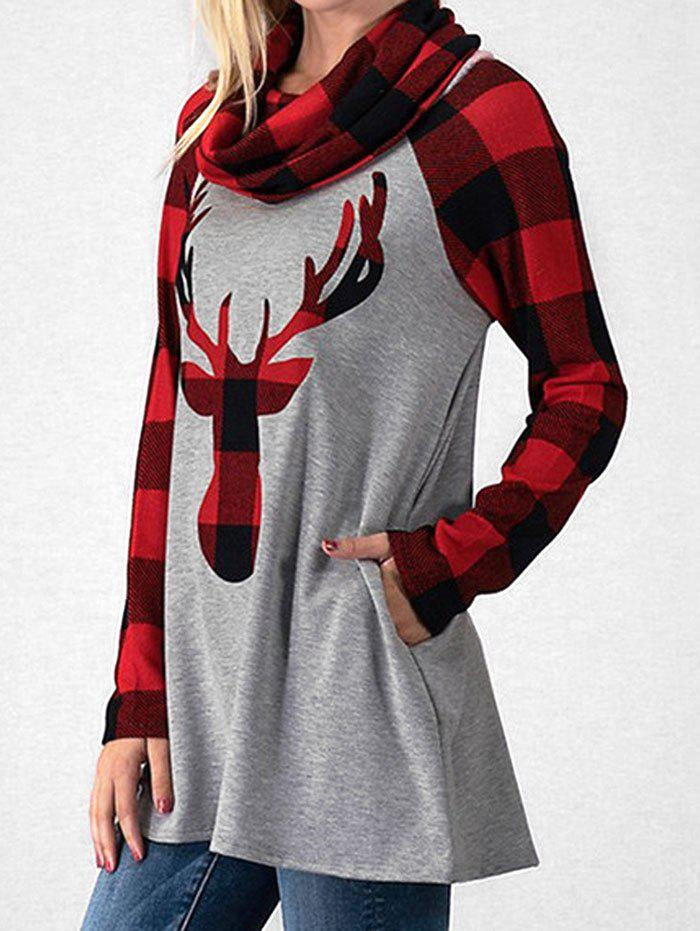 Cowl Neck Plaid Elk Imprimer Noël T-shirt