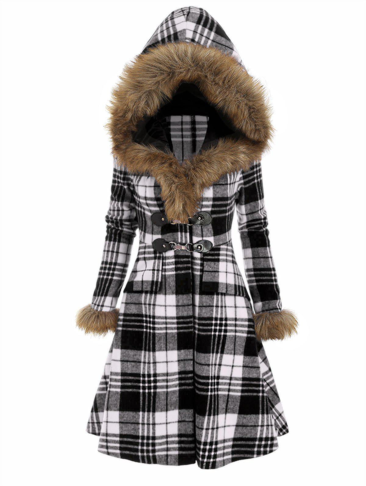 Buy Plaid Hooded Longline Coat