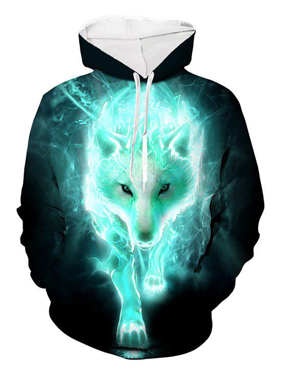 Hot Wolf 3D Print Casual Drawstring Hoodie