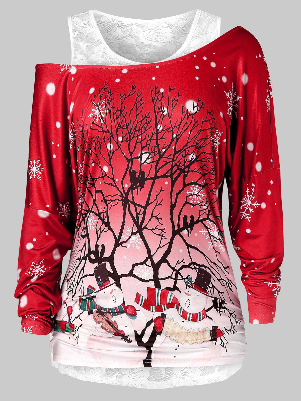 Online Plus Size Christmas Printed Skew Neck T Shirt And Lace Top Set