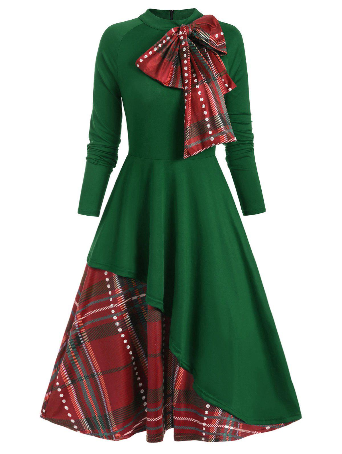 Affordable Plaid Contrast Bowknot Flared Overlay Dress