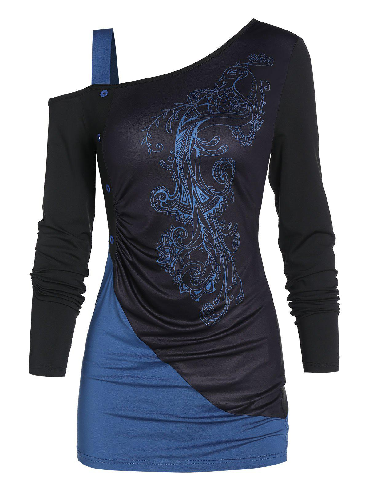 Trendy Peacock Print Two Tone Exposed Shoulder T Shirt