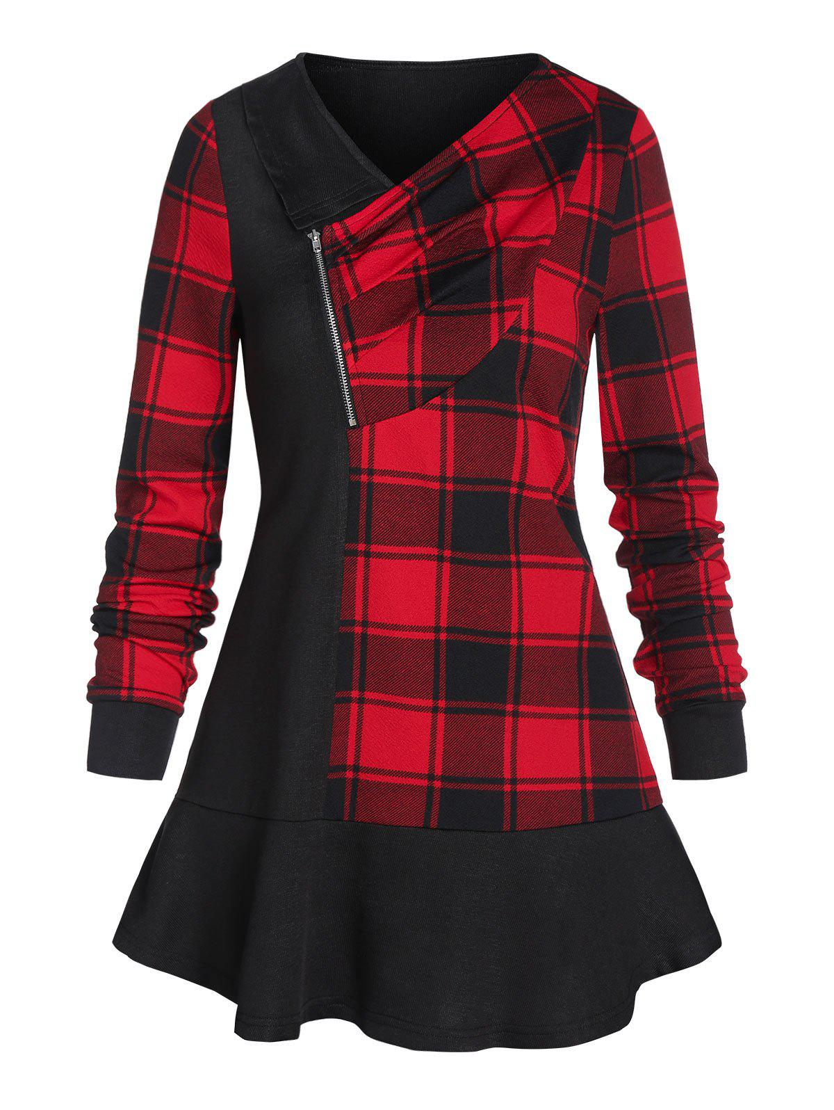 Outfits V Neck Tartan Panel Skirted Sweater