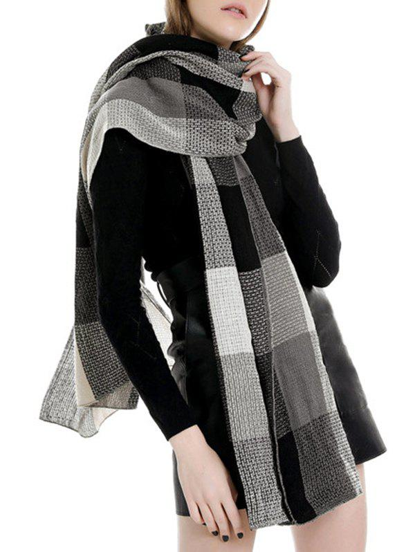 Trendy Winter Plaid Color-blocking Long Scarf