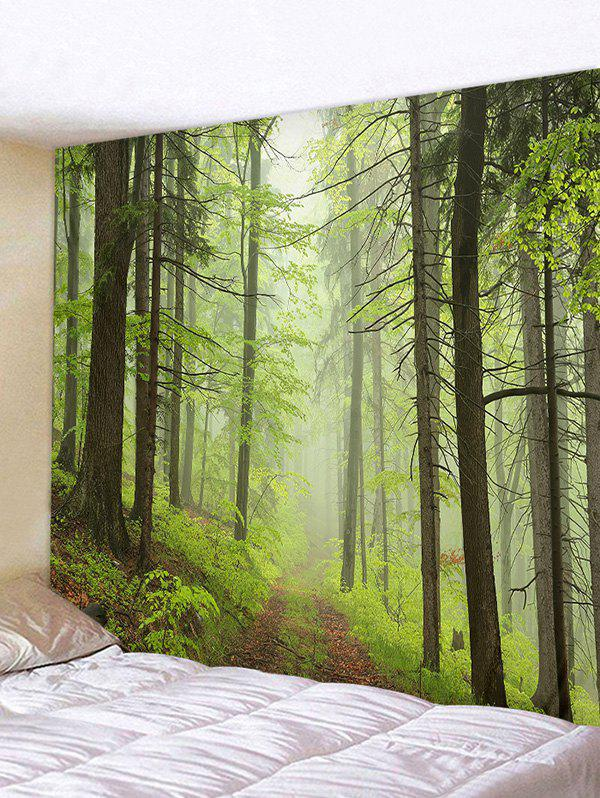 Mist Forest Trail Print Tapestry Wall Hanging Art Decoration, Green onion