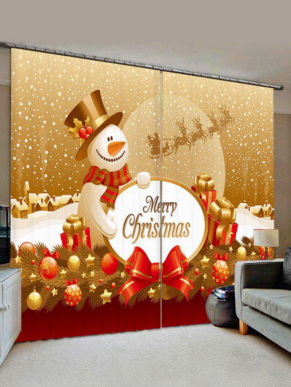 Cheap Christmas Snowman Ball Print Decorative Window Curtains