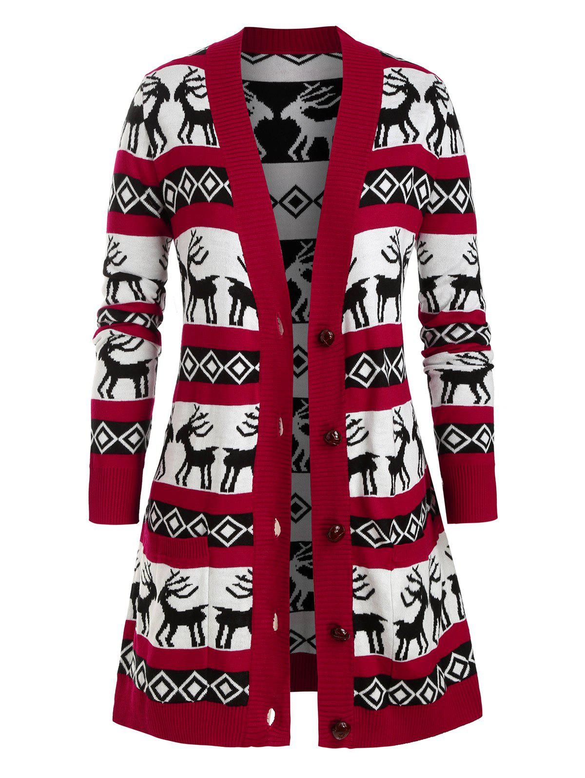 Plus Size Elk Argyle Graphic Cardigan Noël