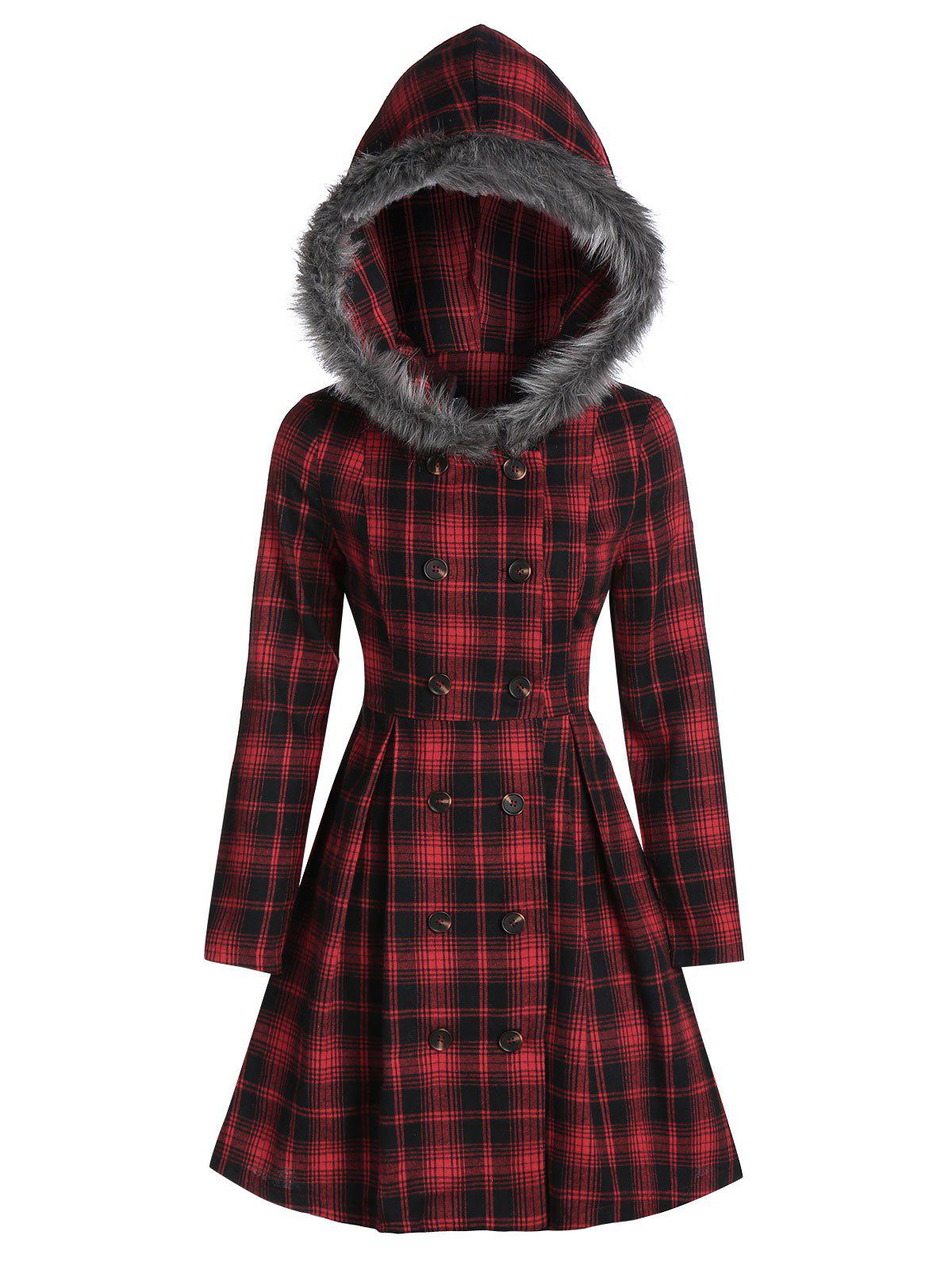 Cheap Double Breasted Fur Hooded Coat