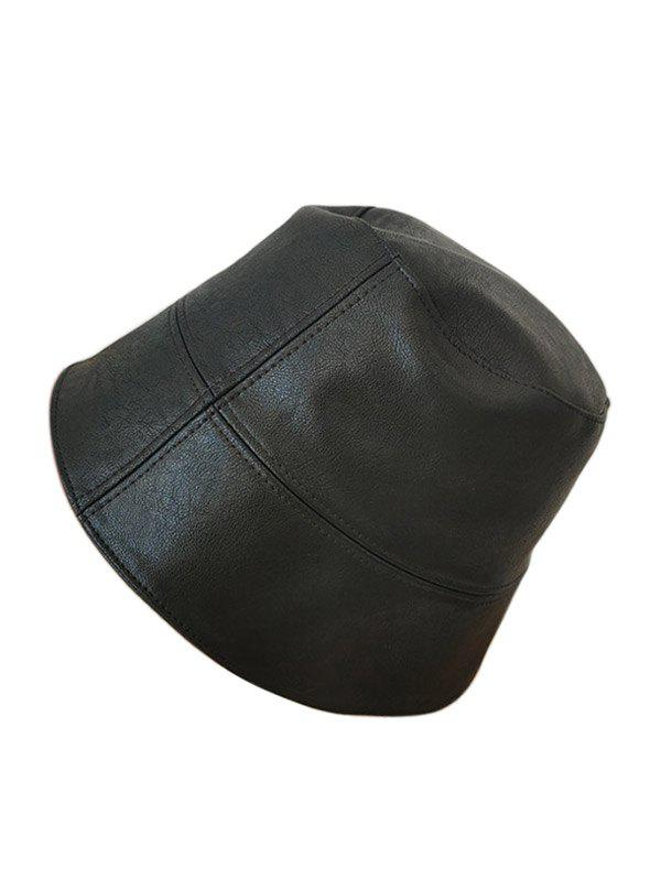 Buy Faux Leather Solid Bucket Hat