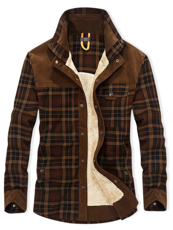 Buy Plaid Print Button Up Fleece Jacket