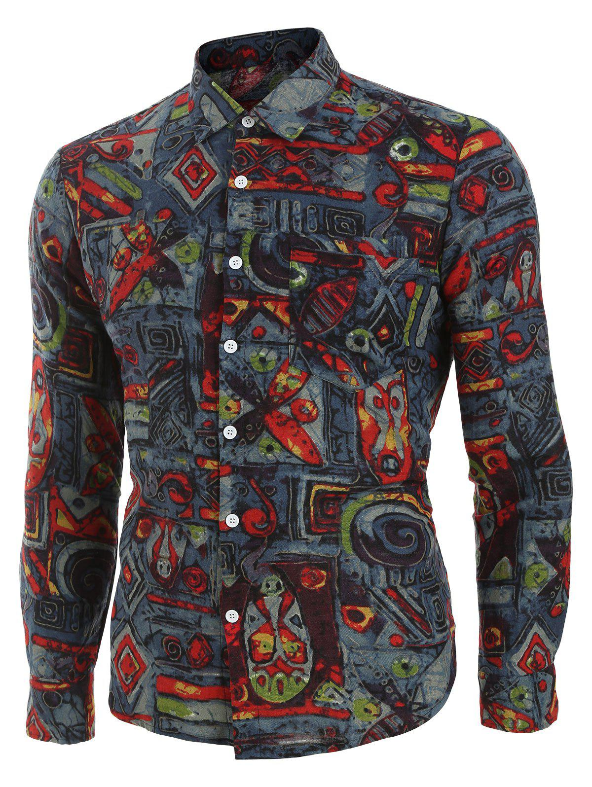 Discount Vintage Print Button Long-sleeved Shirt