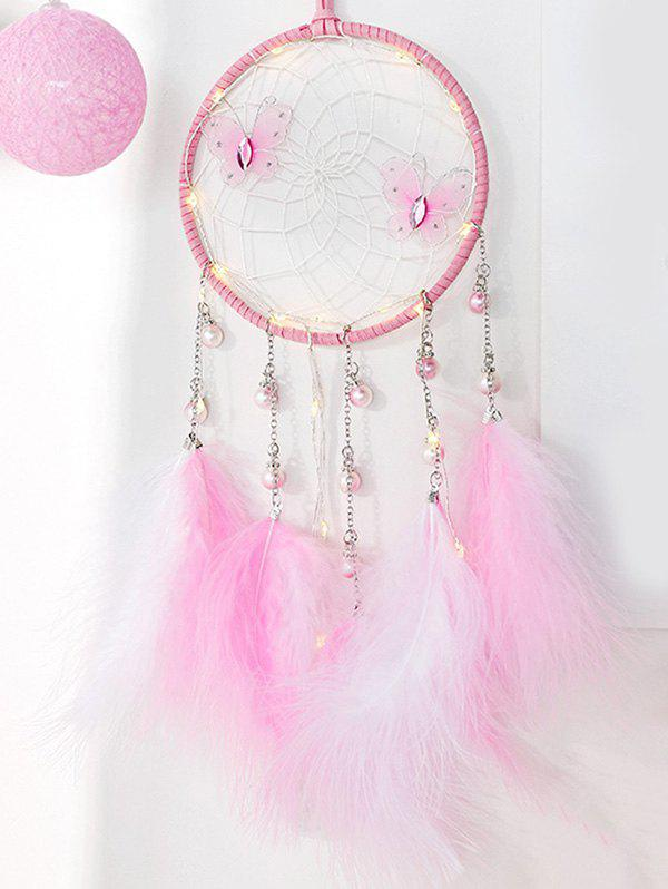 Faux plumes Papillon artificiel Perle Dream Catcher Rose Cochon