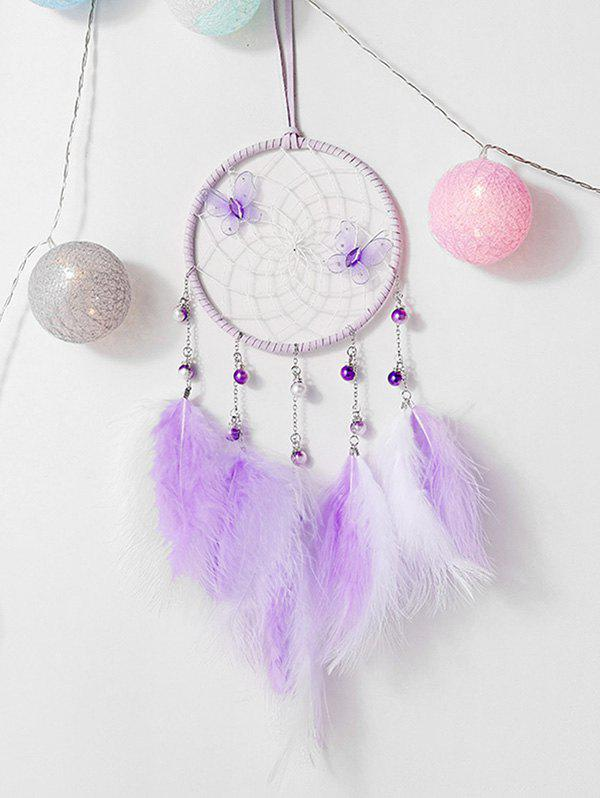 Latest Faux Feather Butterfly Artificial Pearl Dream Catcher