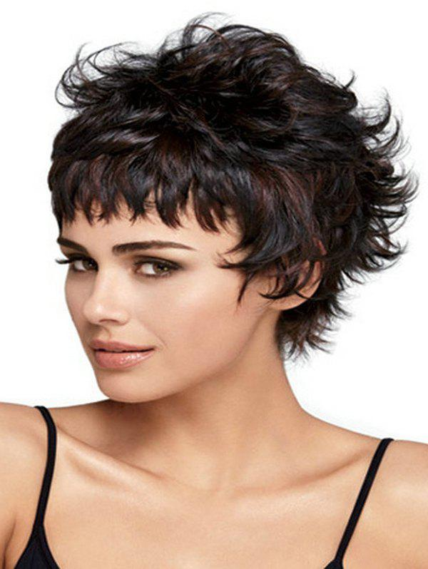 Online Mixed Slight Curl Short See-through Bang Synthetic Wig