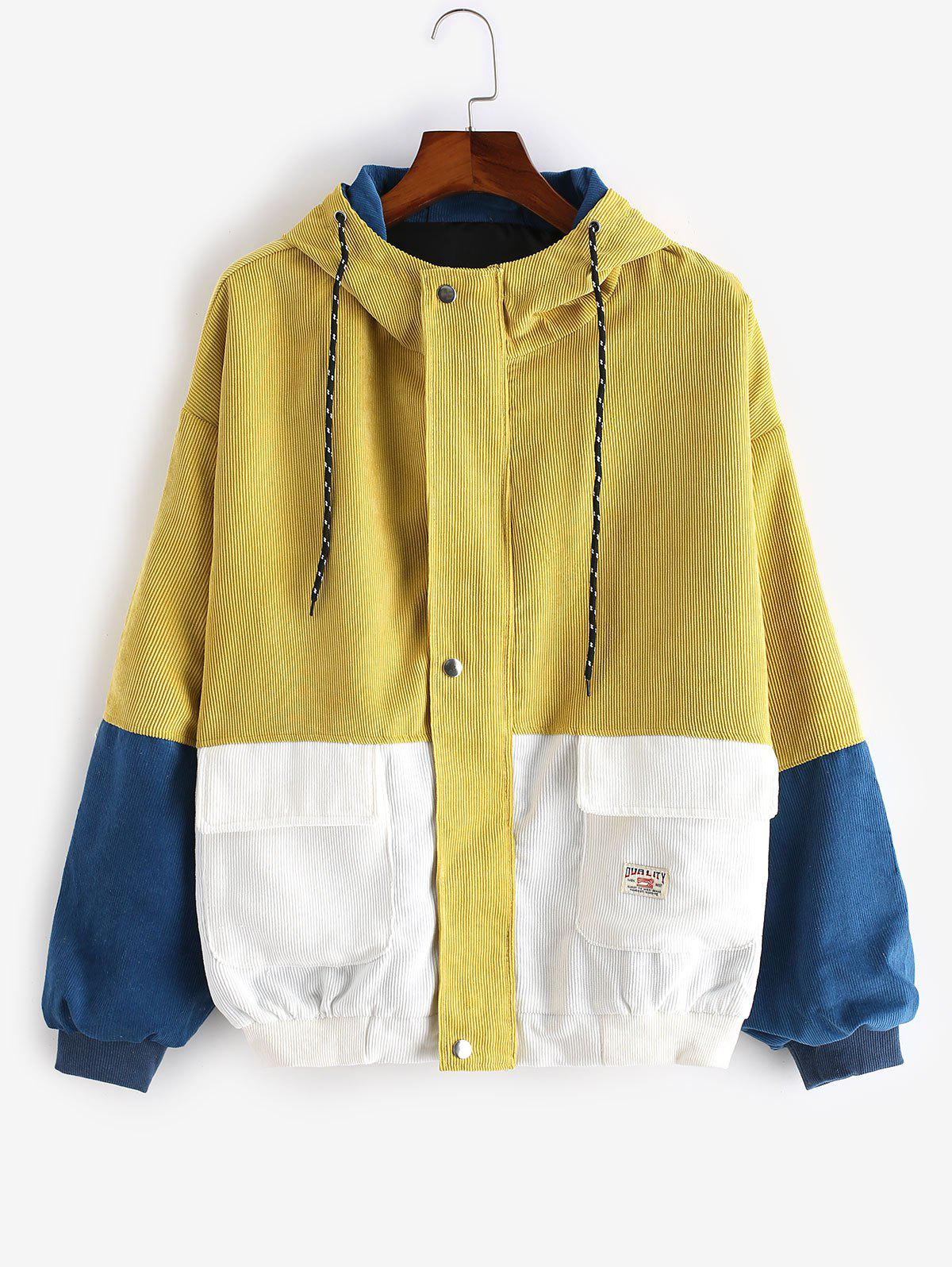 Outfits Plus Size Hoodie Colorblock Corduroy Jacket