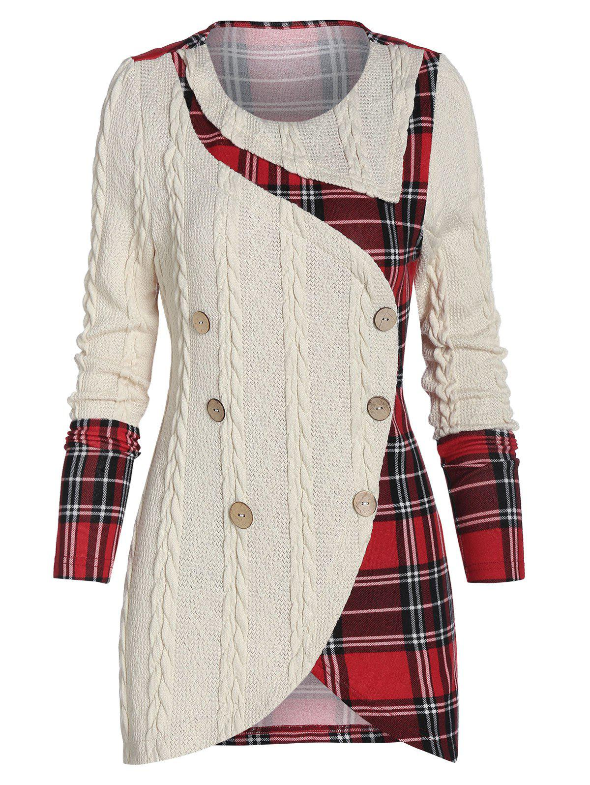 Chic Tartan Panel Mock Button Asymmetric Sweater