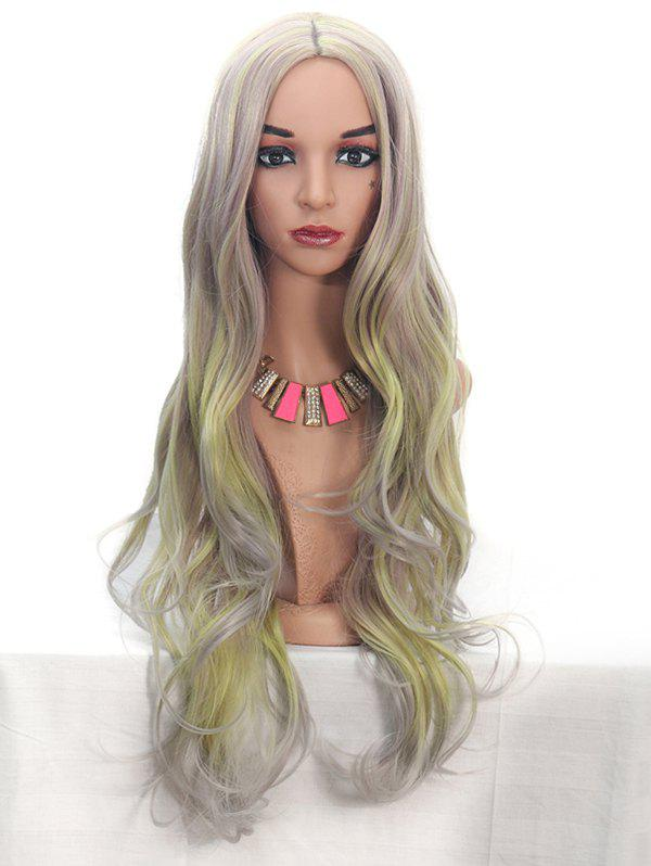 Synthetic Center Part Highlight Long Body Wave Wig