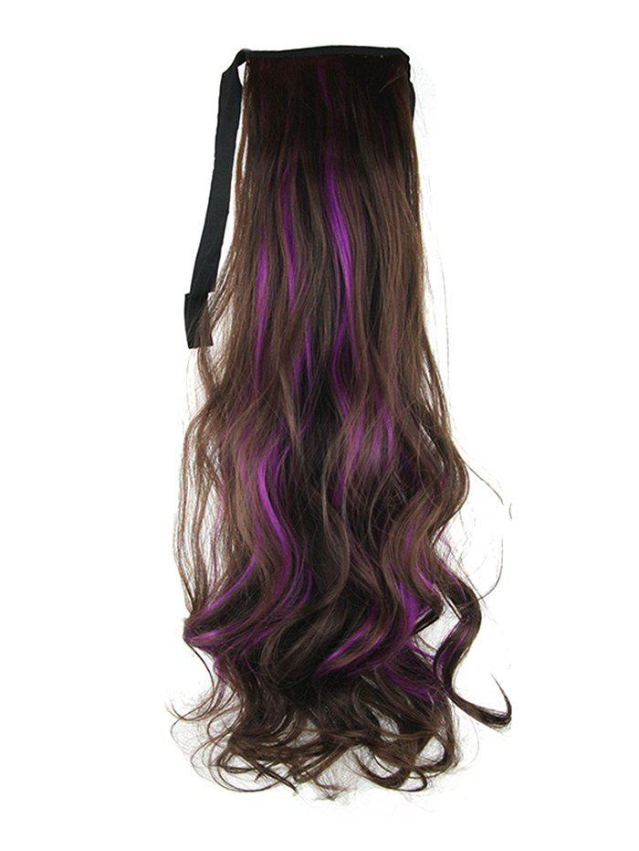 Fancy Long Highlights Body Wave Ombre Synthetic Lace-up Hair Piece