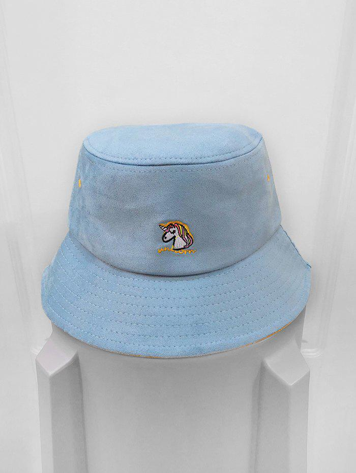 Fancy Cartoon Unicorn Pattern Suede Bucket Hat