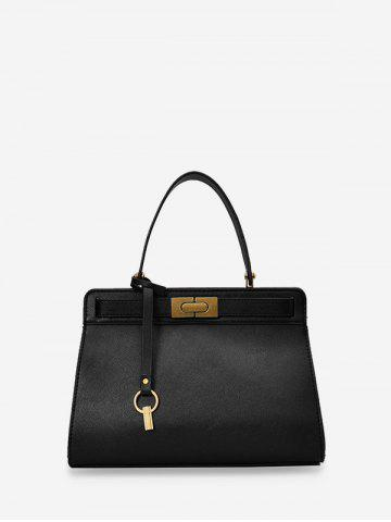 Metal Accent PU Leather Tote Bag