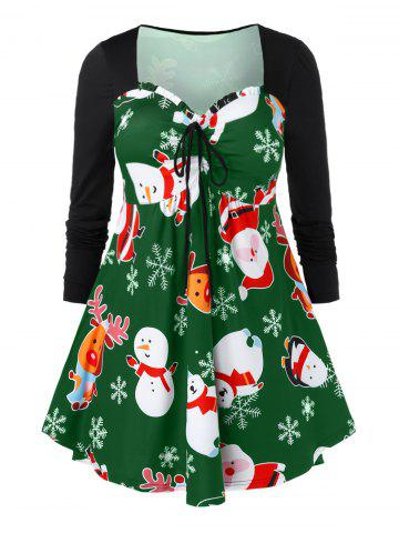 Plus Size Christmas Snowman Printed Cinched T Shirt