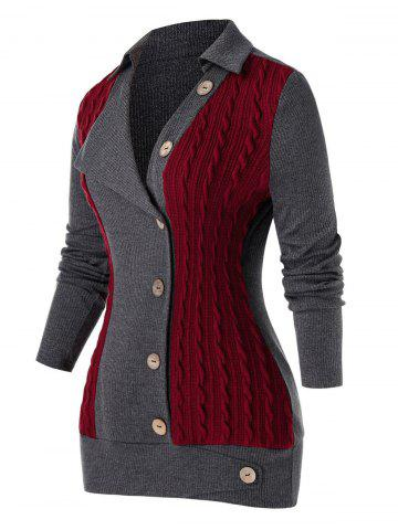 Plus Size Buttoned Colorblock Cable Knit Sweater