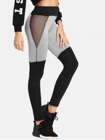 Color Lump Mesh Panel Leggings - GRAY - S