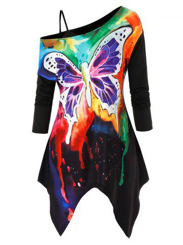 Plus Size Tie Dye Butterfly Asymmetrical Tee and Cami Top Set