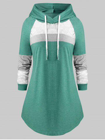 Plus Size Lace Panel Hooded Color-blocking Curved Tunic Tee