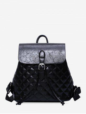 Flap Buckled Quilted PU Leather Backpack