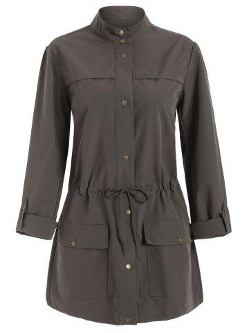Toggle Drawstring Double Pockets Button Up Trench Coat