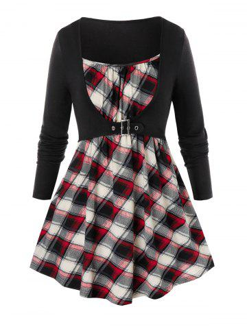Plus Size Plaid Buckled 2fer Tunic Top