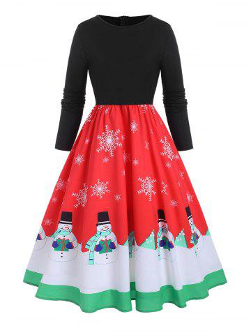 Plus Size Christmas Snowman Snowflake Long Sleeve Dress