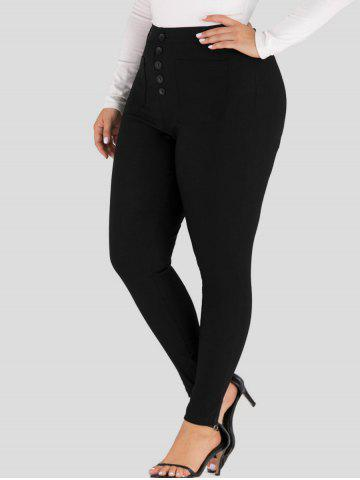 Plus Size Button Fly Skinny Pants