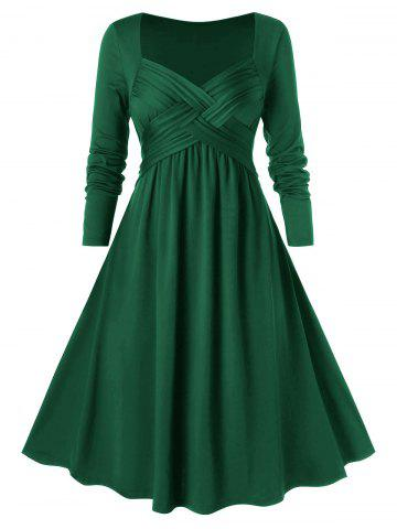 Plus Size Criss Cross Midi A Line Dress - MEDIUM SEA GREEN - L