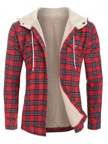 Plaid Chest Pocket Fleece Hooded Jacket - RED - 2XL