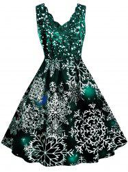 Scalloped Collar Snowflake Print Christmas Plus Size Dress -