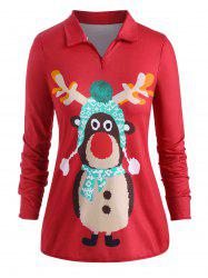 Poches quart Zip Cartoon Elk Noël Taille Plus Sweat -