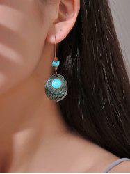 Faux Turquoise Hollow Out Round Drop Earrings -