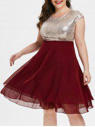 Cap Sleeve Chiffon Panel Sequined Plus Size Prom Dress -
