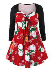 Plus Size Christmas Snowman Printed Cinched T Shirt -