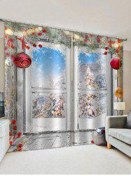 2 Panels Christmas Balls Tree Window Print Window Curtains -