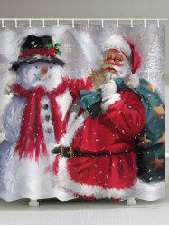 Father Christmas Snowman Waterproof Curtain -