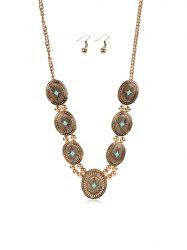 Ethnic Carved Geometric Turquoise Jewelry Set -